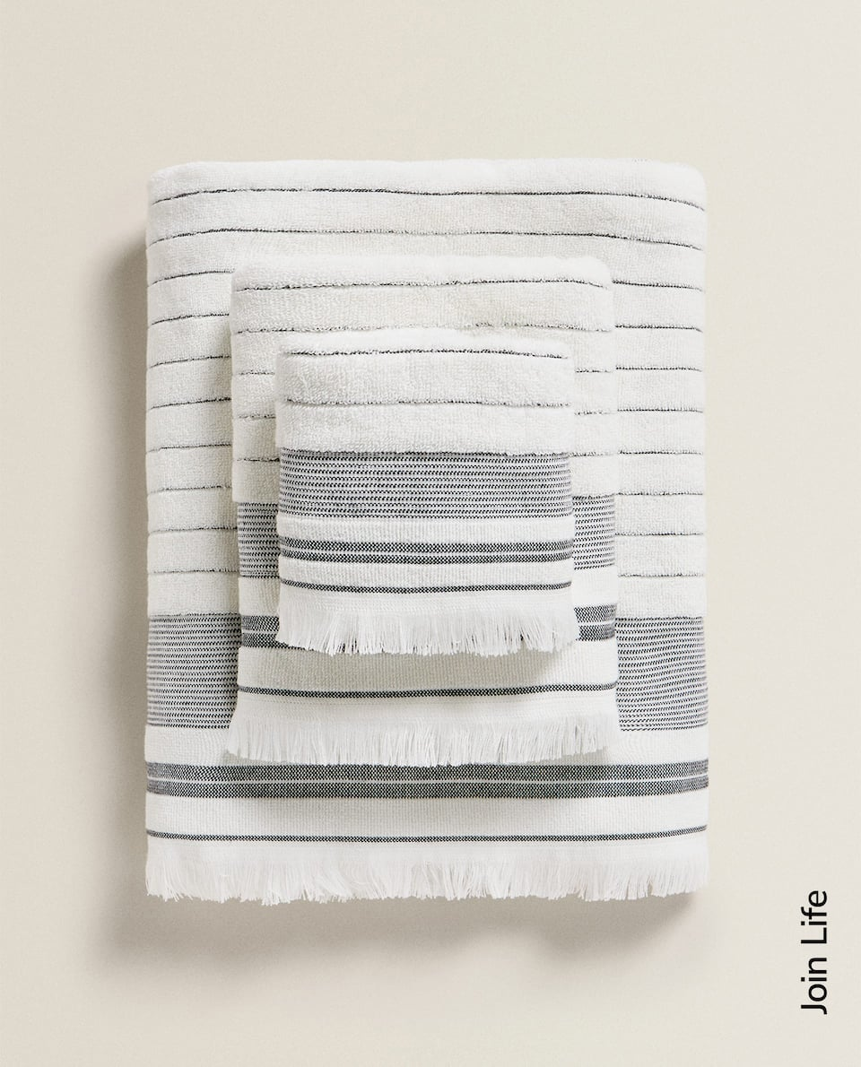 STRIPED ECOLOGICALLY GROWN COTTON TOWEL