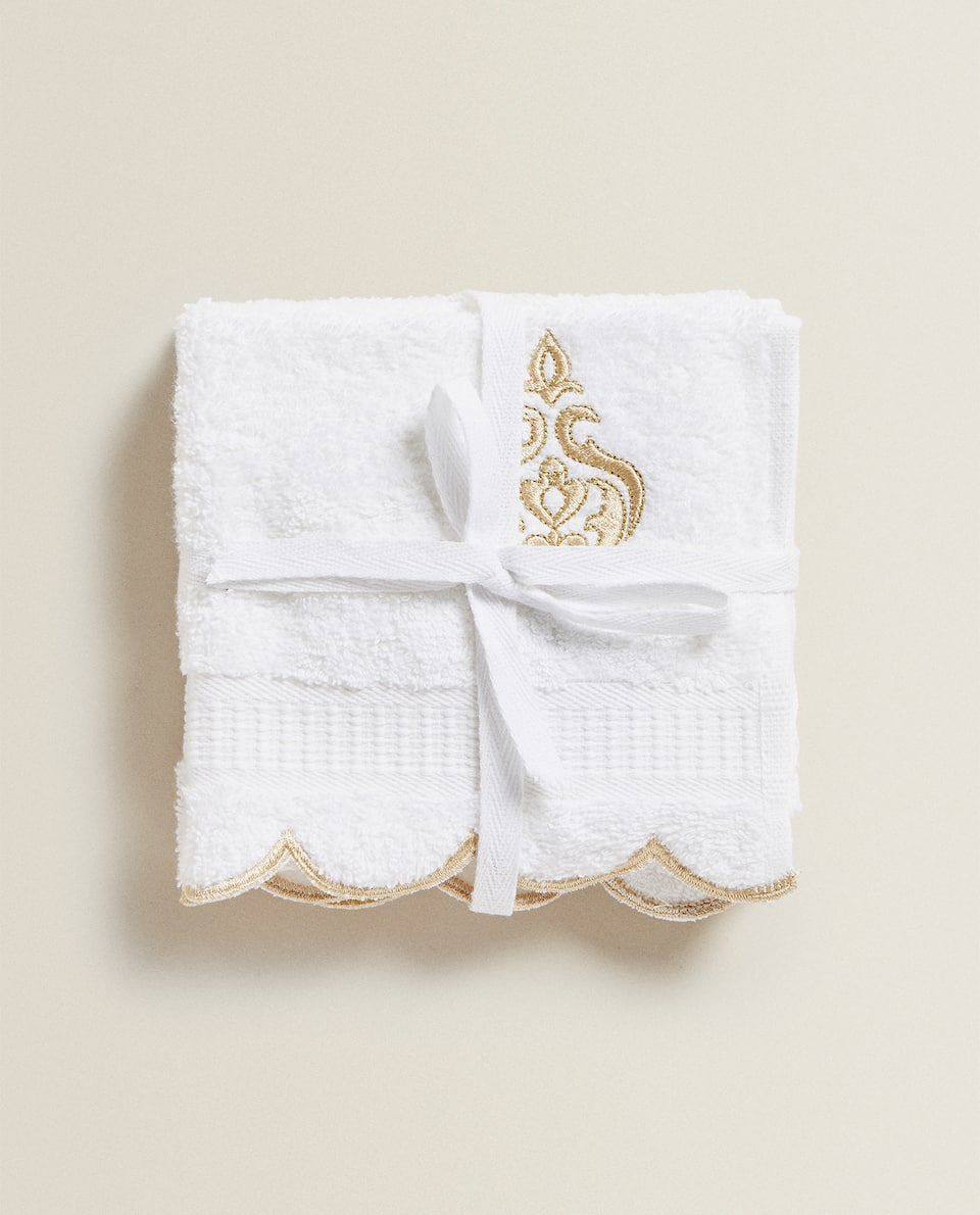 TOWEL WITH GOLD EMBROIDERY (PACK OF 3)