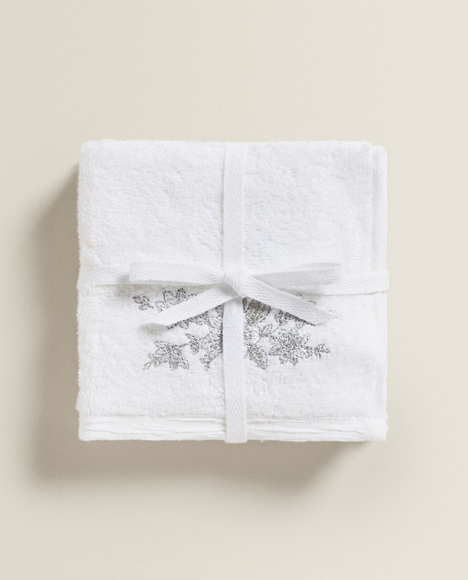 TOWEL WITH SILVER EMBROIDERY (PACK OF 3)