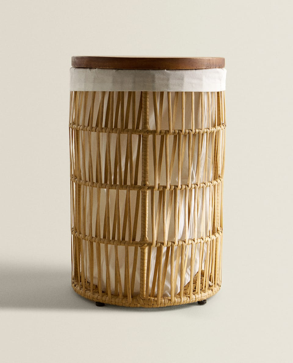BASKET WITH WOODEN LID