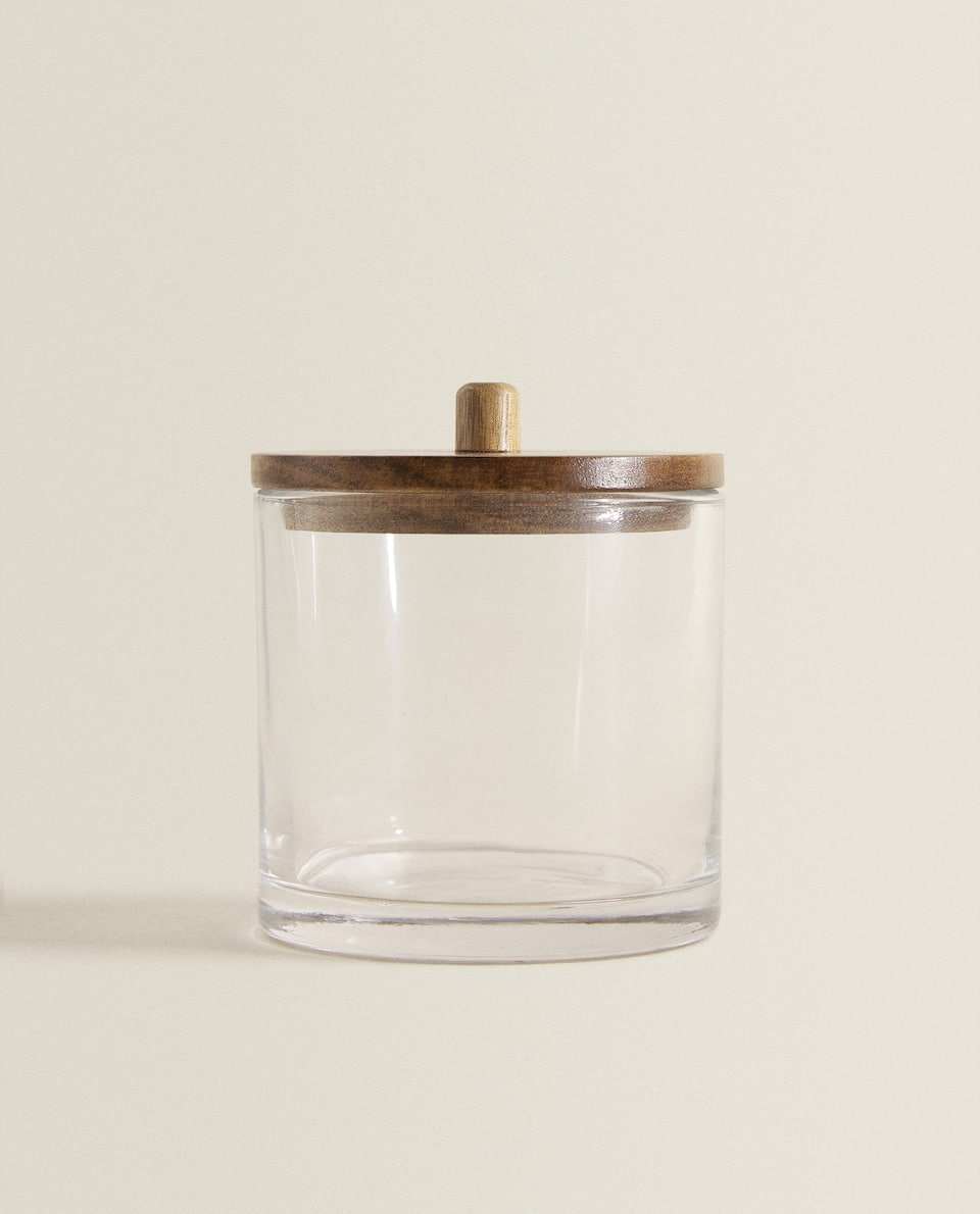 GLASS AND WOODEN JAR