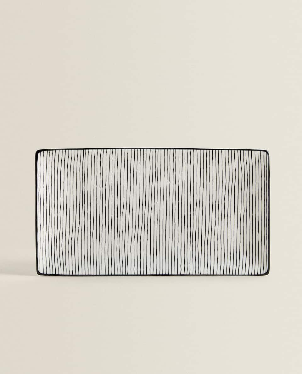 STRIPED RECTANGULAR SERVING DISH