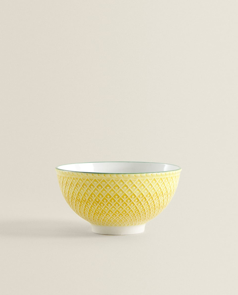 FLORAL RAISED-DESIGN BOWL