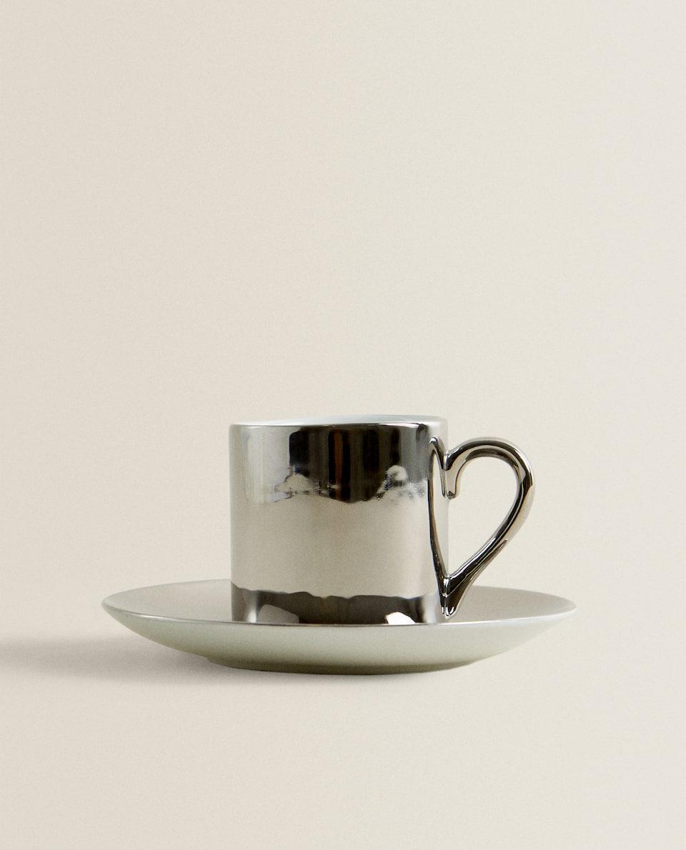 TAZA DE CAFÉ CON PLATO DE PORCELANA