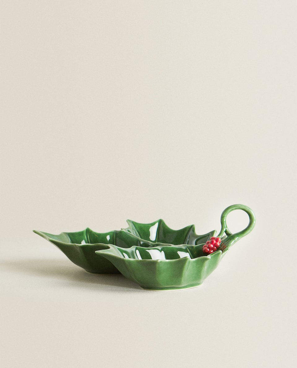 HOLLY DESIGN PORCELAIN TRIPLE SERVING DISH