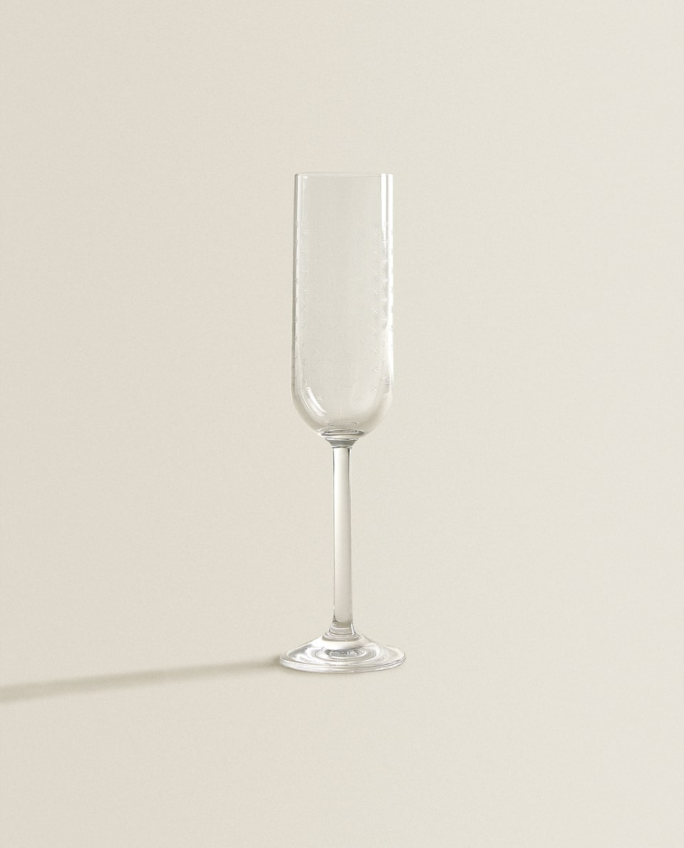 STAR-ETCHED CHAMPAGNE FLUTE