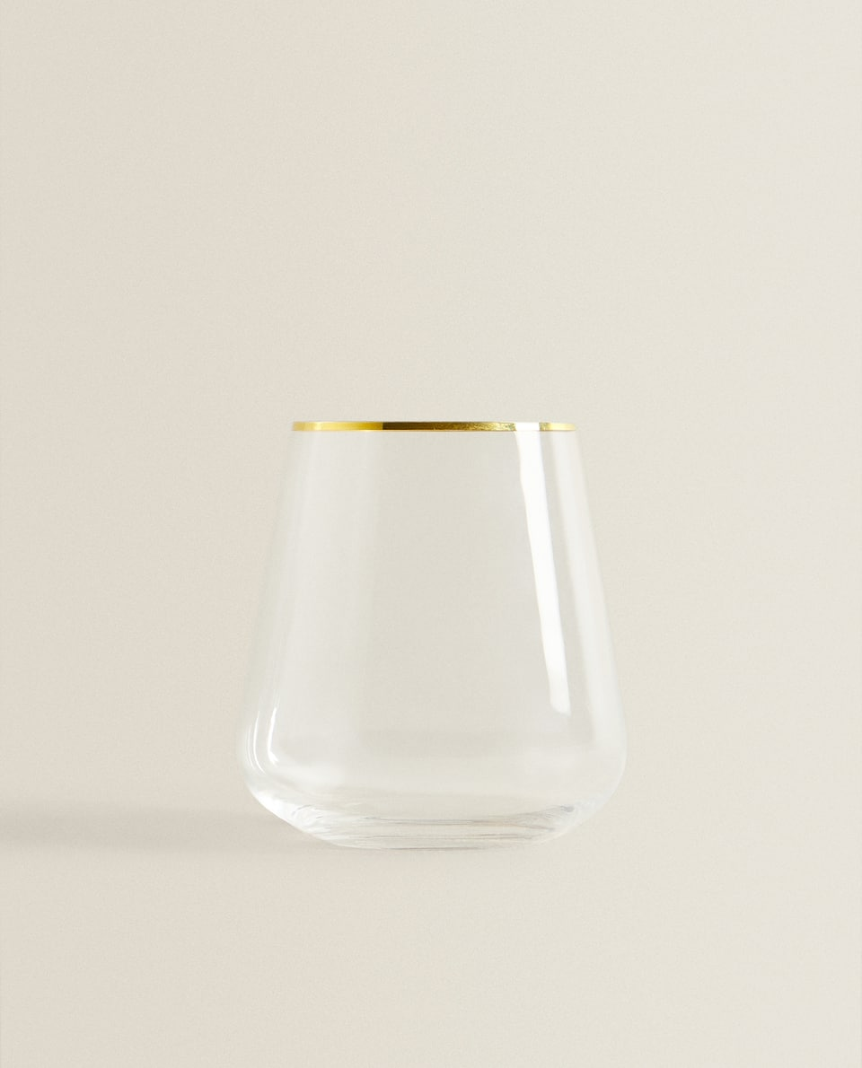 CRYSTALLINE TUMBLER WITH GOLD RIM