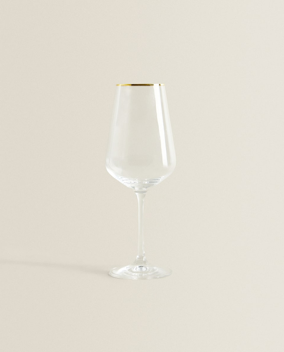CRYSTALLINE WINE GLASS WITH GOLD RIM