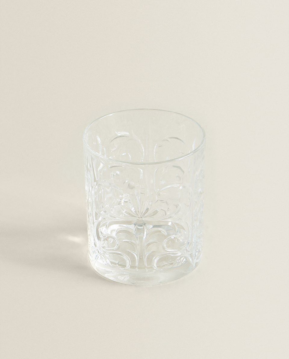 RAISED FLOWERS CRYSTALLINE TUMBLER