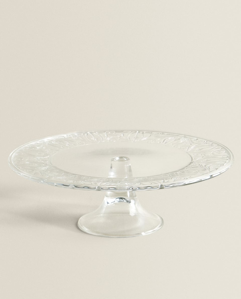DECORATED SERVING DISH WITH STAND
