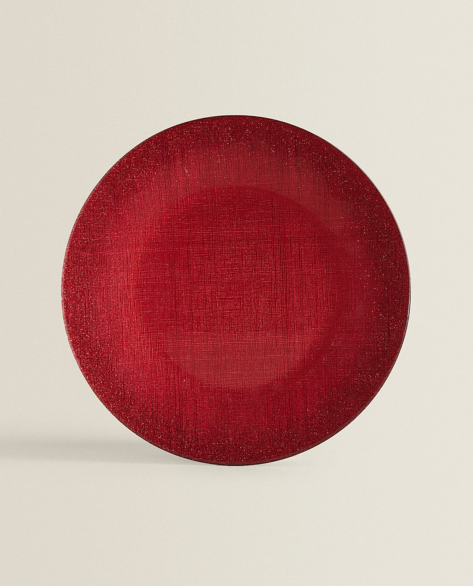 RED GLASS SERVICE PLATE