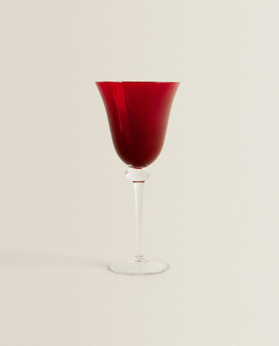 RED STRIPED WINE GLASS