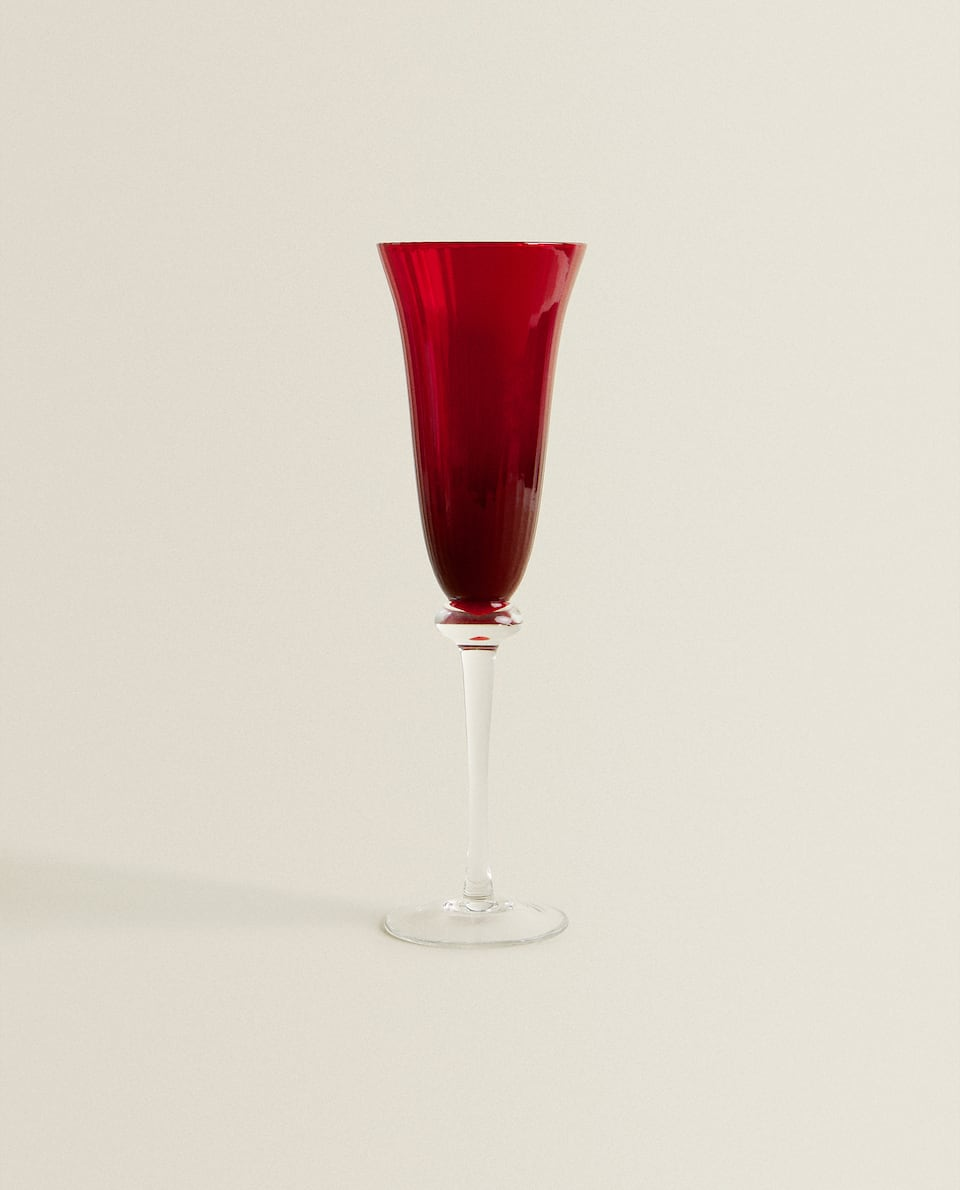 RED STRIPED CHAMPAGNE FLUTE