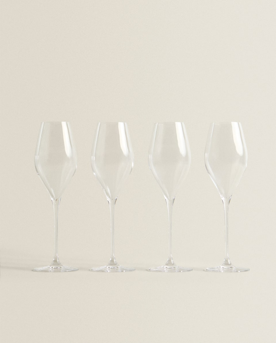 CRYSTALLINE GLASS CHAMPAGNE FLUTE (SET OF 4)