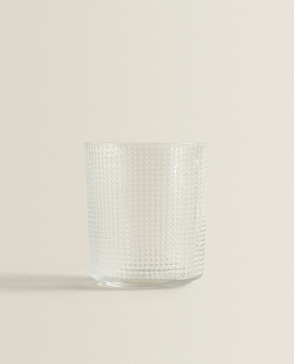 TEXTURED GLASS TUMBLER