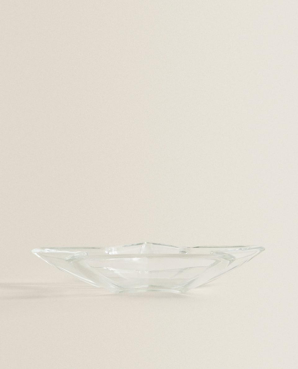 طبق التقديم من الزجاج على شكل نجمة