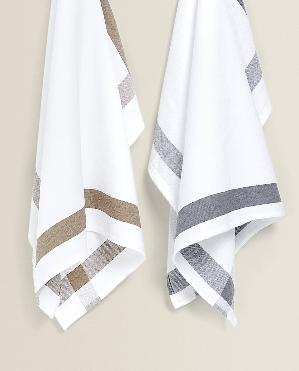 TEA TOWEL WITH CONTRASTING STRIPE (SET OF 2)