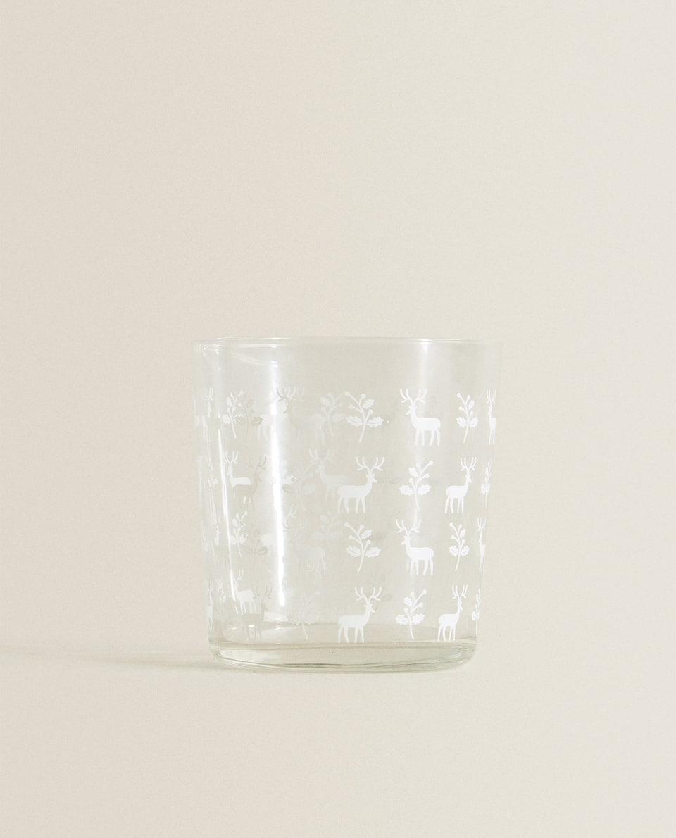 كأس مع حيوان الرنة بالطباعة بالشاشة الحريرية