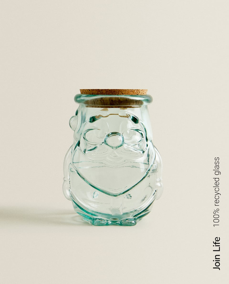 100% RECYCLED FATHER CHRISTMAS GLASS JAR