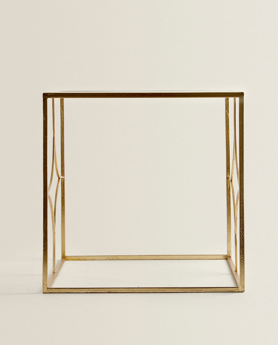 GLASS TABLE WITH GOLD FRAME
