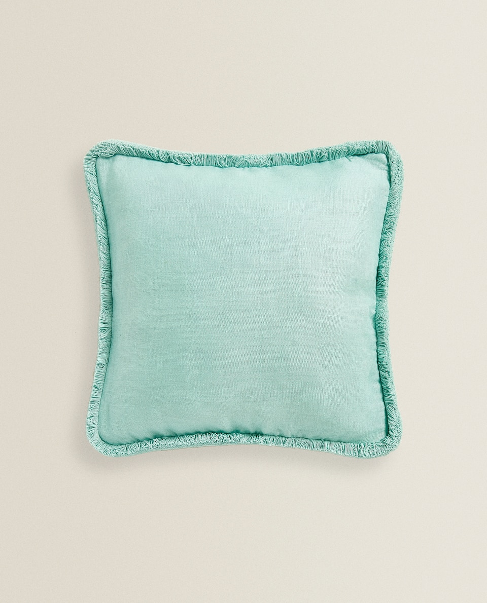 LINEN BACKSTITCHING CUSHION COVER