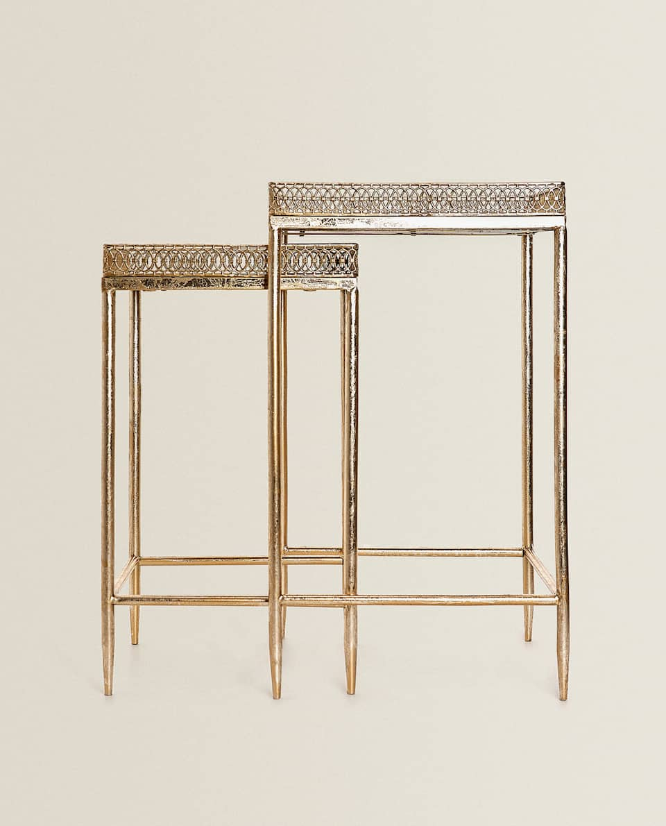 SQUARE MIRRORED TABLE (SET OF 2)