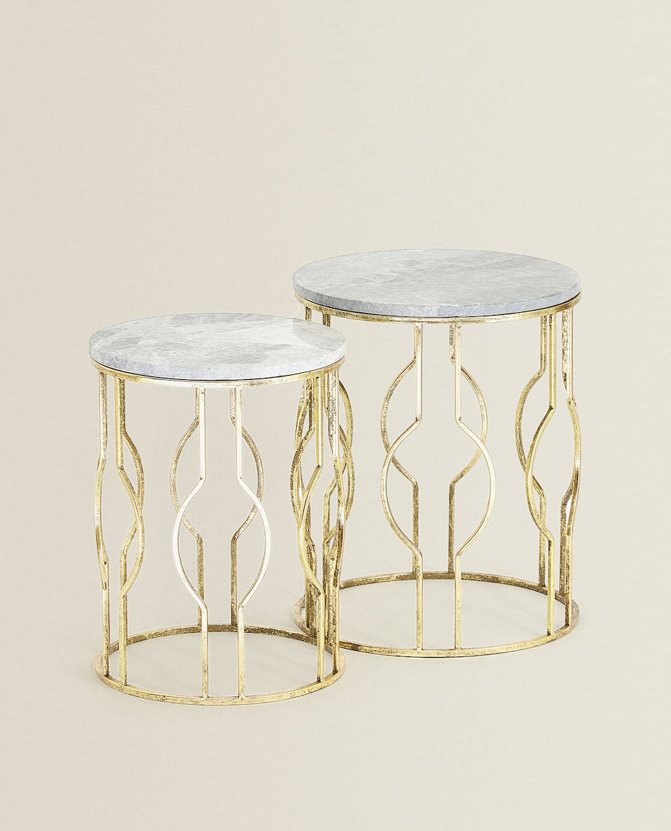 ROUND MARBLE TABLES (SET OF 2)