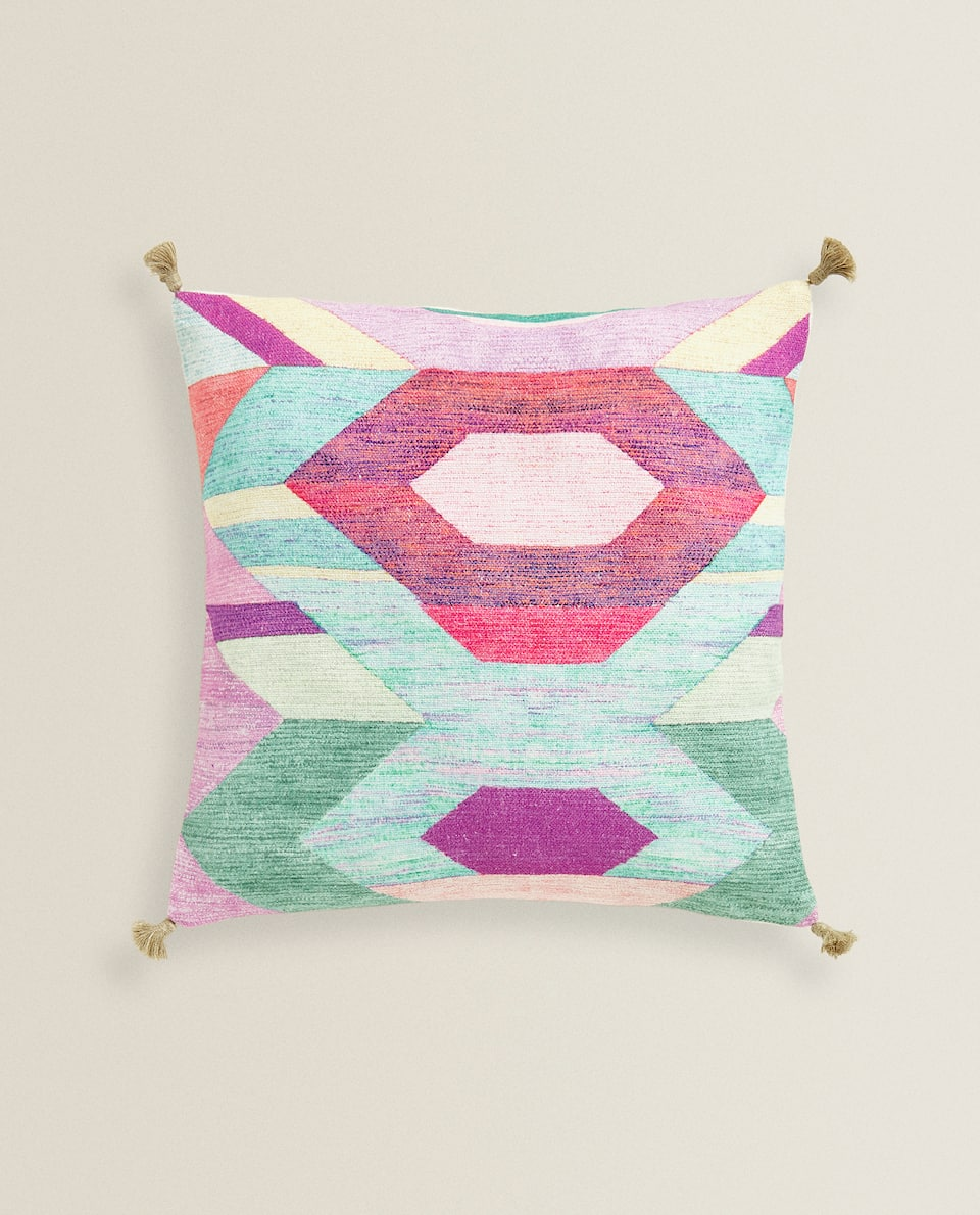 COLOURFUL PRINT CUSHION COVER