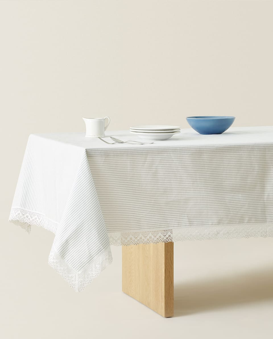 THIN STRIPED LINEN TABLECLOTH