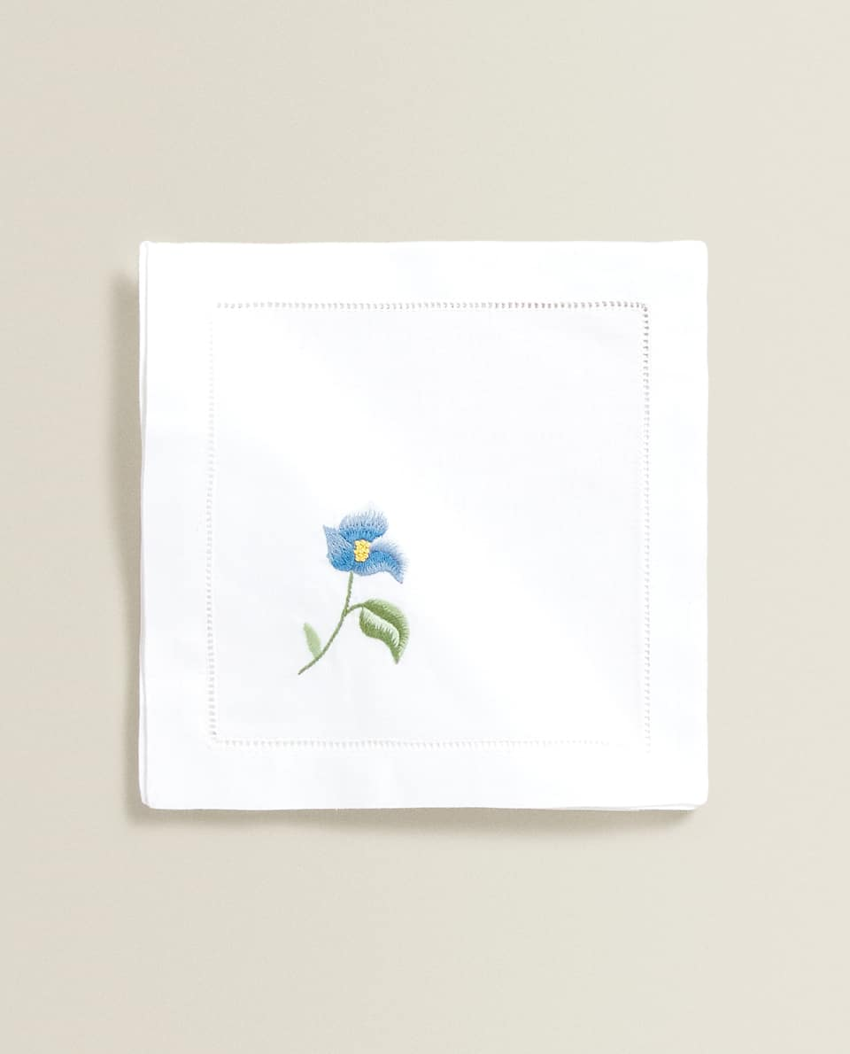 RAMIE NAPKIN WITH FLORAL EMBROIDERY