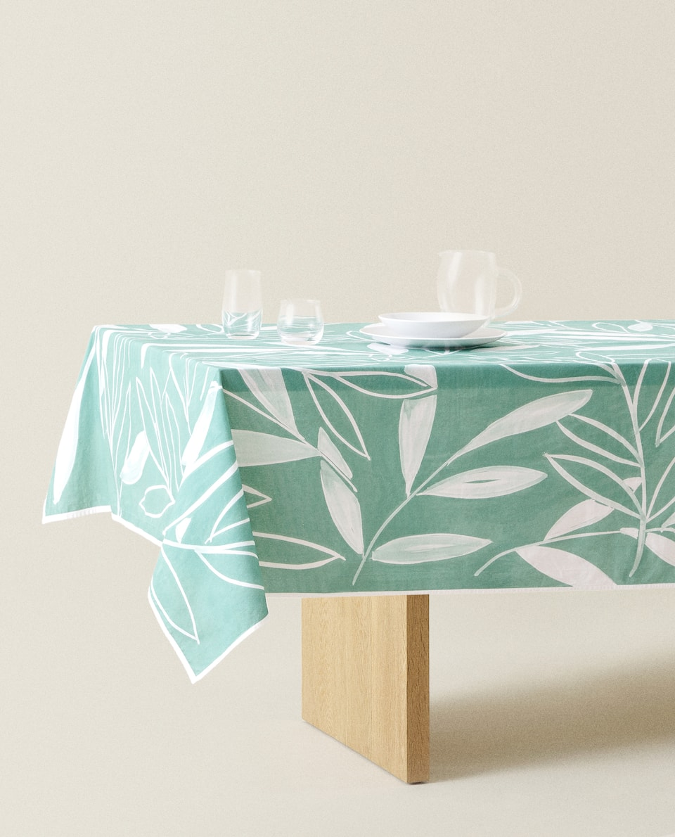 LEAF PRINT WASHED COTTON TABLECLOTH