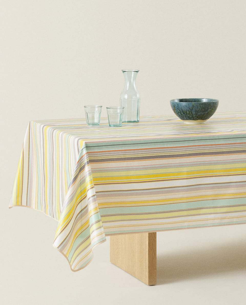 MULTICOLOURED STRIPE PRINT LAMINATED TABLECLOTH