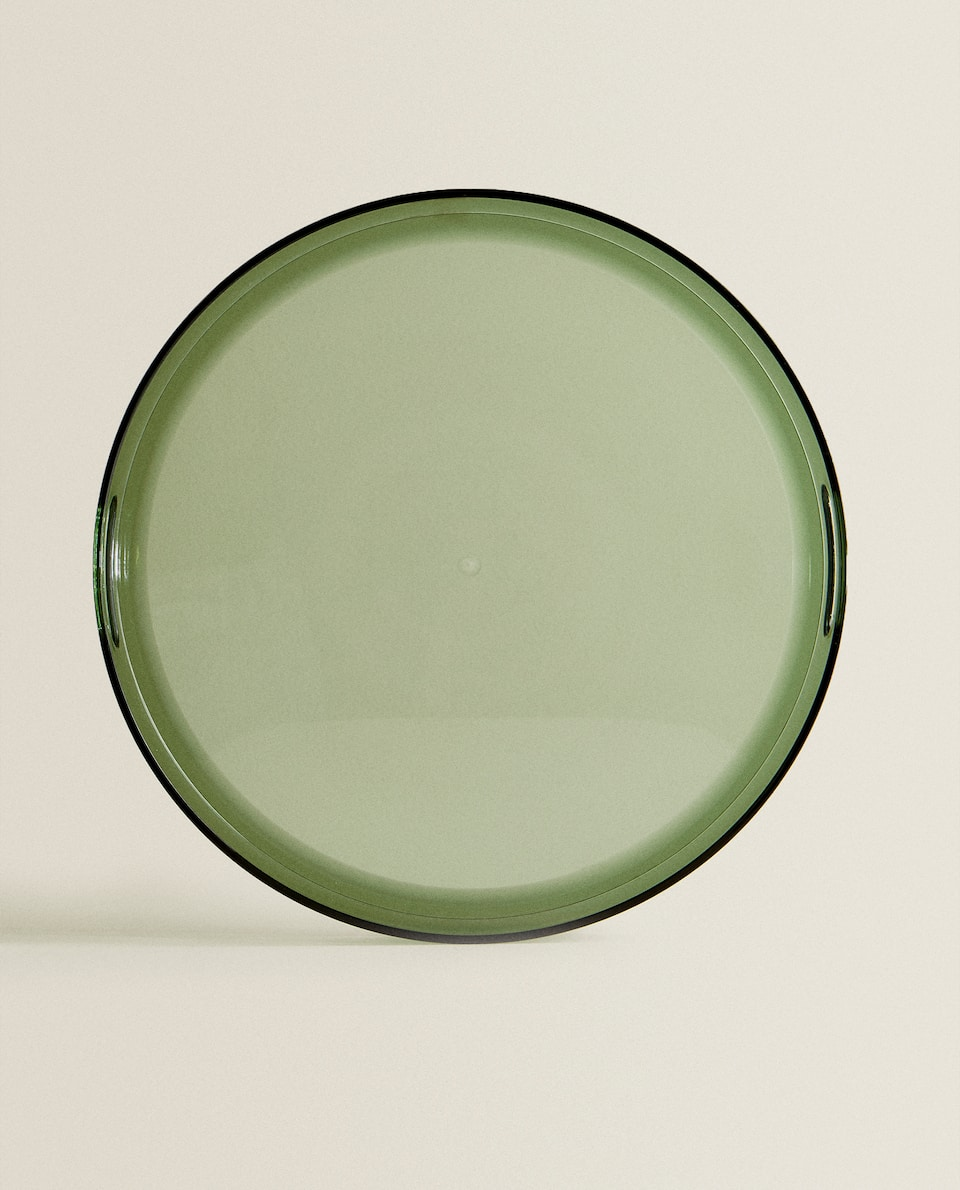 ROUND ACRYLIC TRAY WITH HANDLES