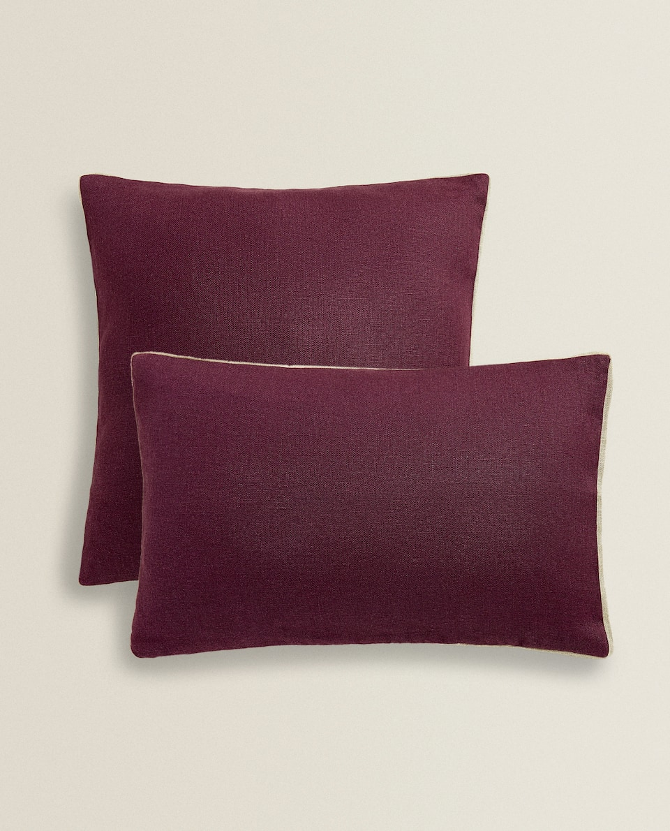 LINEN CUSHION COVER WITH CONTRASTING EDGE
