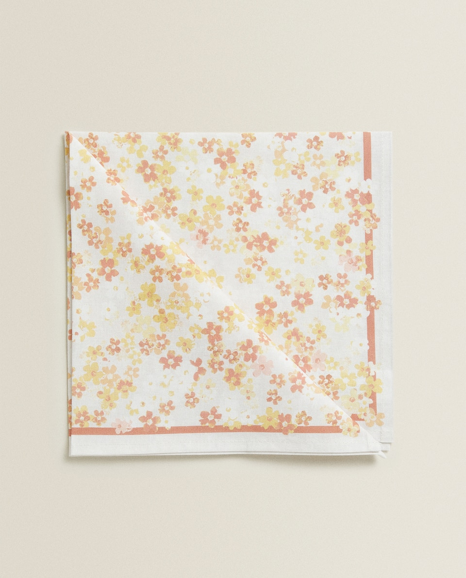 SERVIETTE DE TABLE COTON FLEUR AQUARELLE (LOT DE 2)