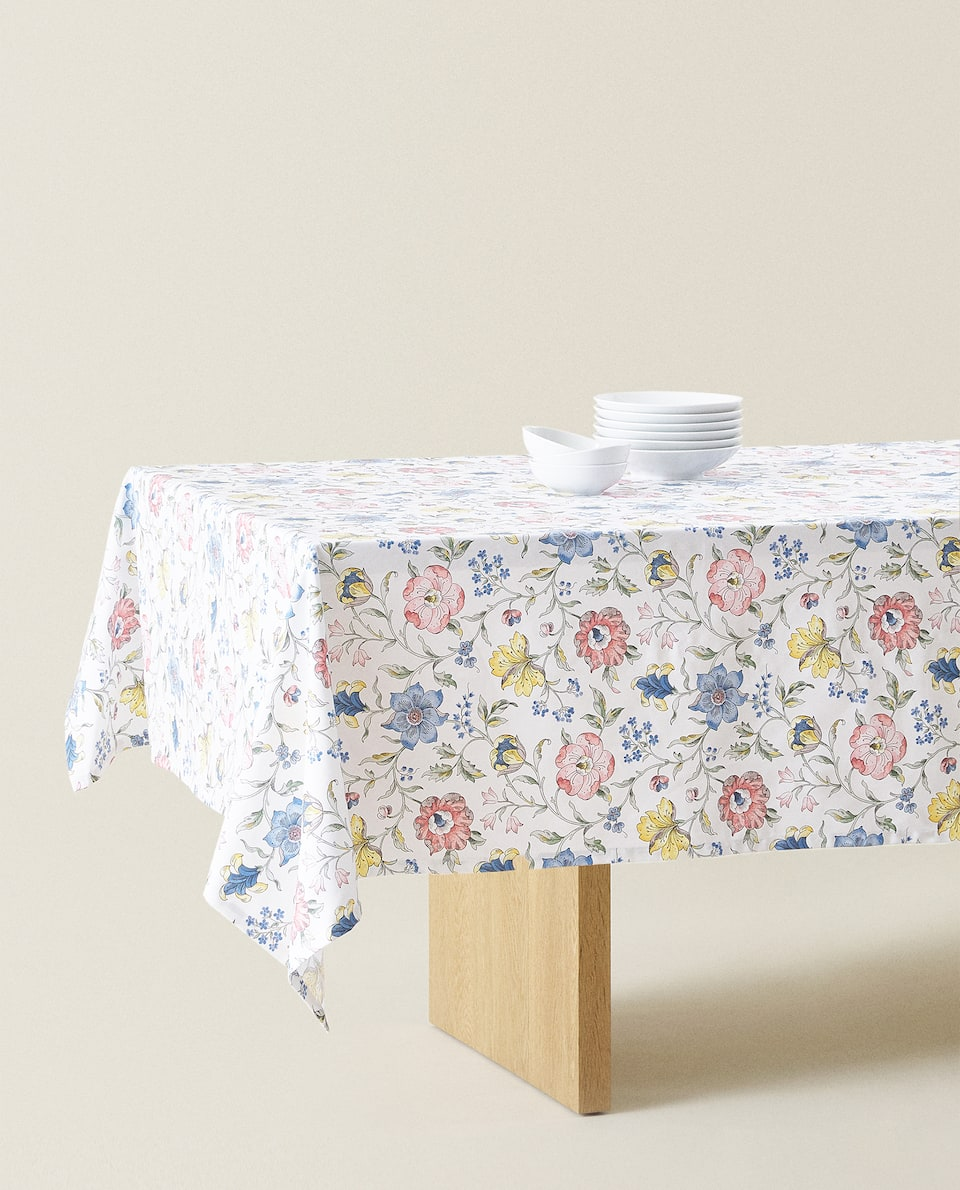 FLORAL PRINT DESIGN COTTON TABLECLOTH