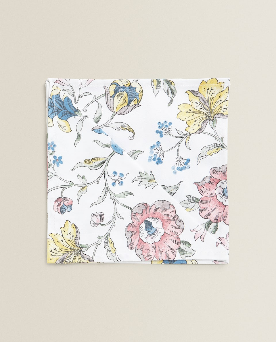 FLORAL PRINT DESIGN COTTON NAPKIN (PACK OF 2)