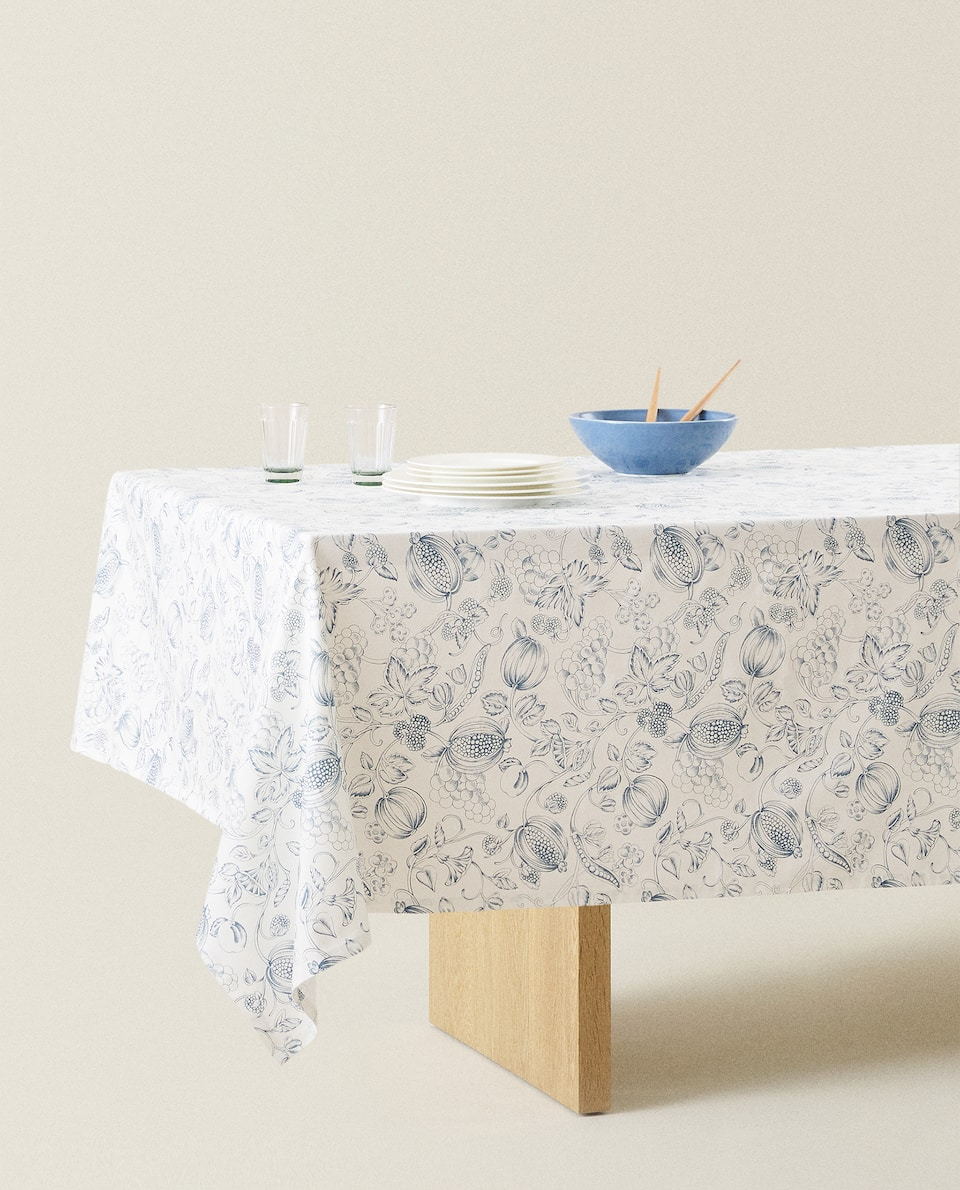 COTTON GRAPE PRINT TABLECLOTH