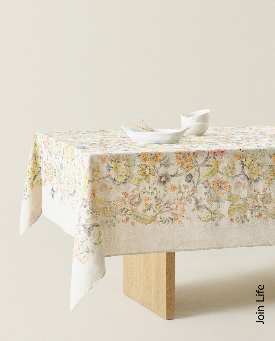 FLORAL PRINT WASHED LINEN TABLECLOTH