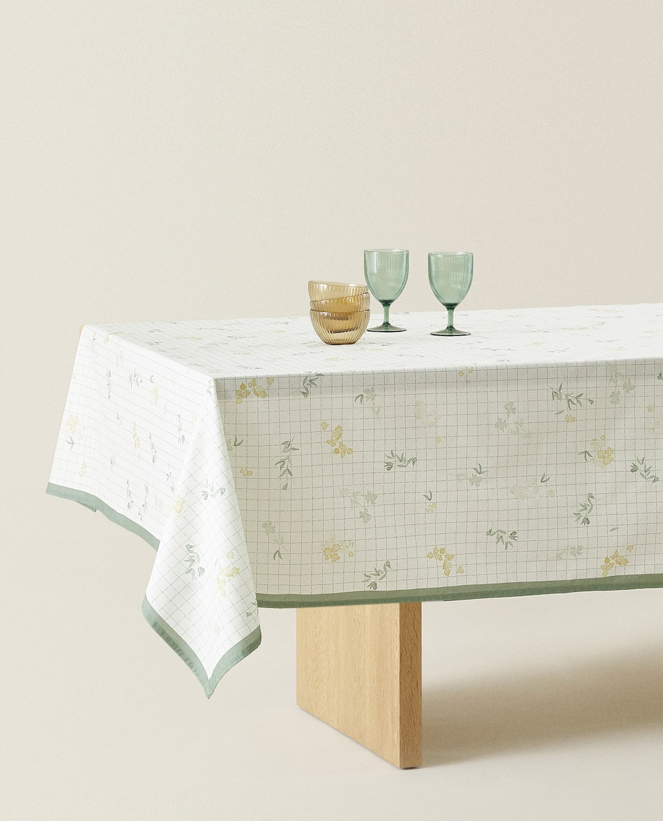 WATERCOLOUR FLOWER COTTON TABLECLOTH