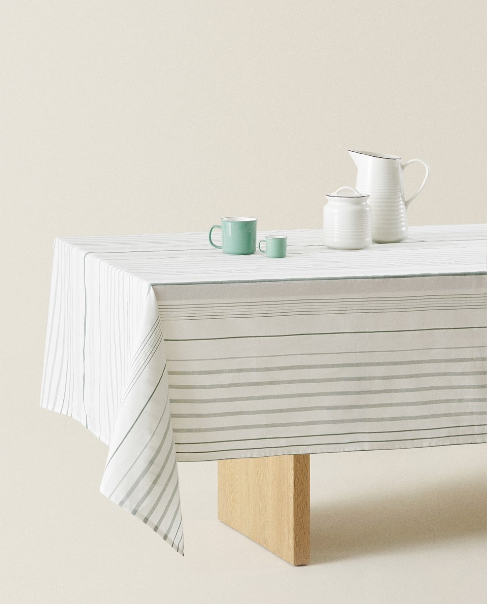 COTTON TABLECLOTH WITH IRREGULAR STRIPES