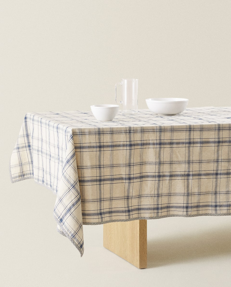 CHECK COTTON LINEN TABLECLOTH