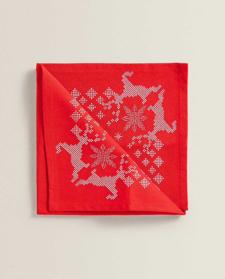 REINDEER AND SNOWFLAKE PRINT NAPKINS (PACK OF 2)