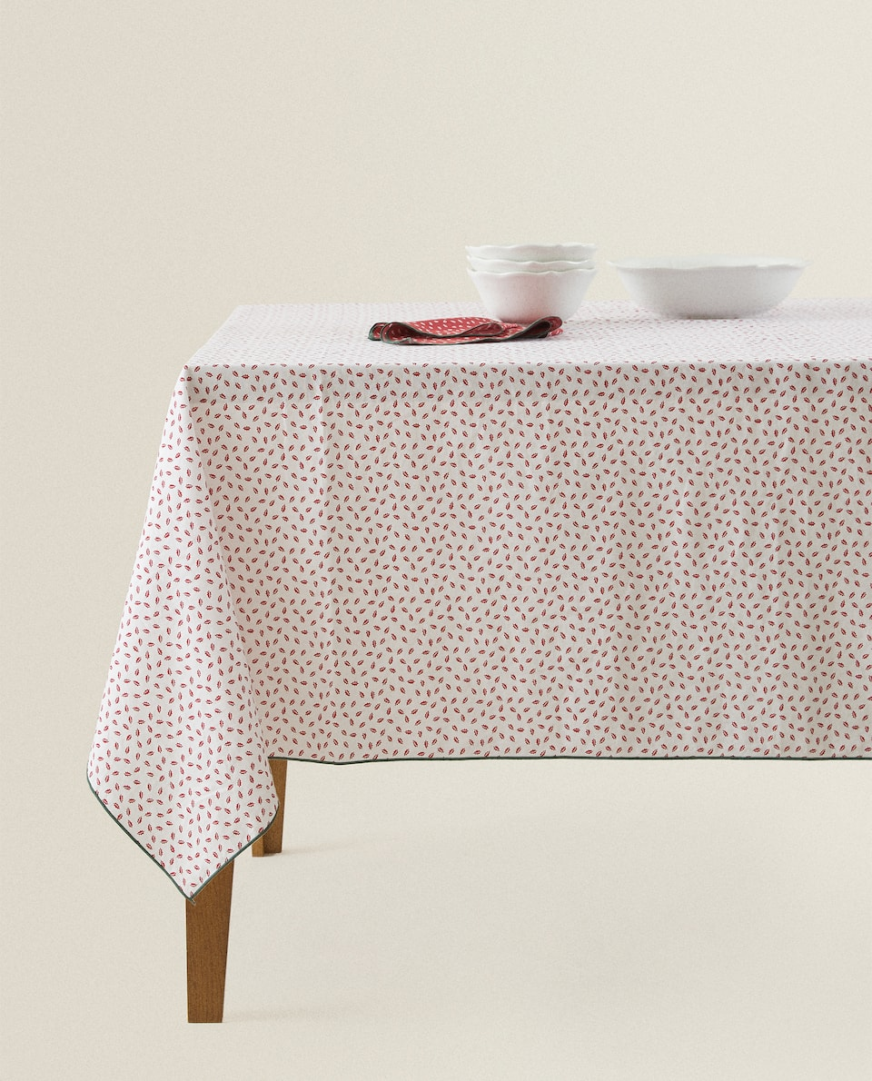 LEAF PRINT COTTON TABLECLOTH