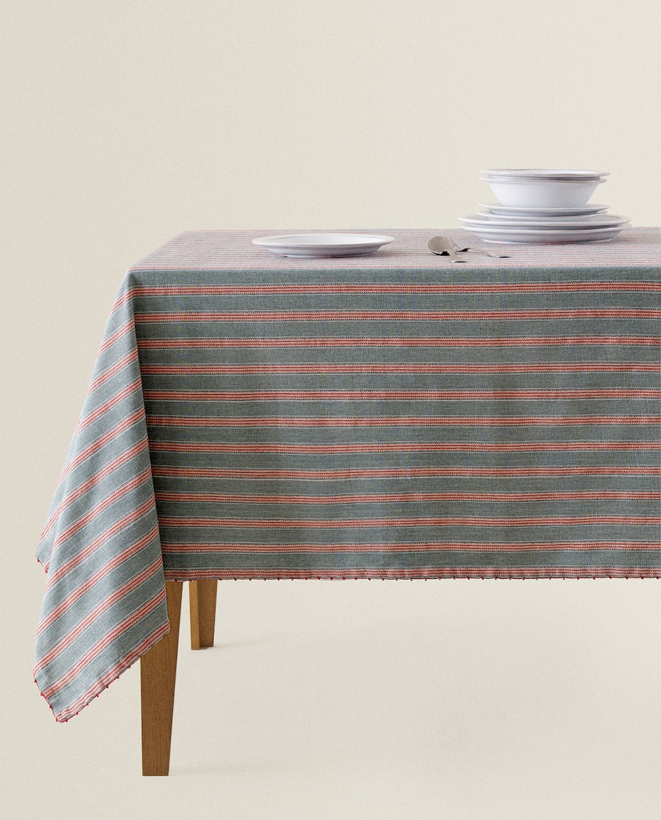 STRIPED AND EMBROIDERED TABLECLOTH