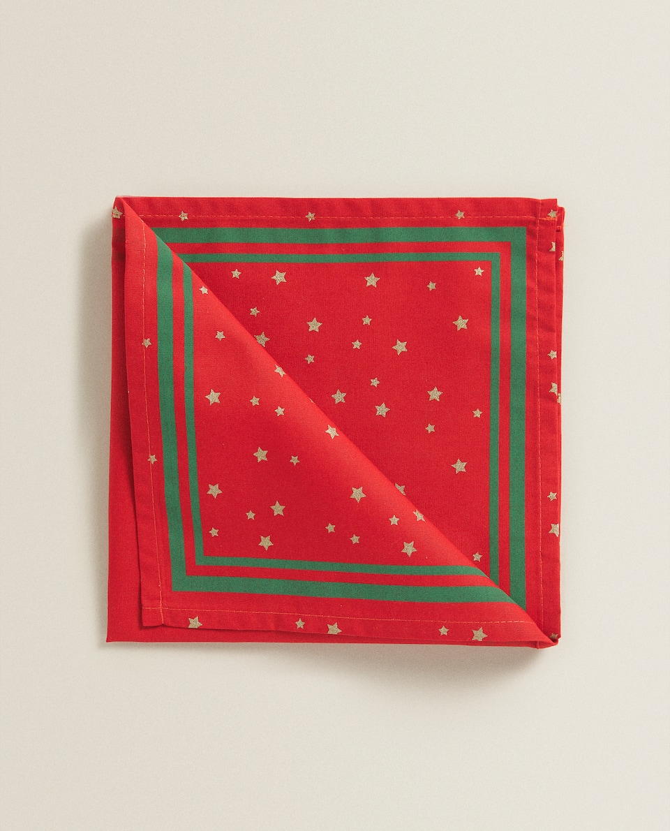 RED NAPKIN WITH STARS (PACK OF 2)