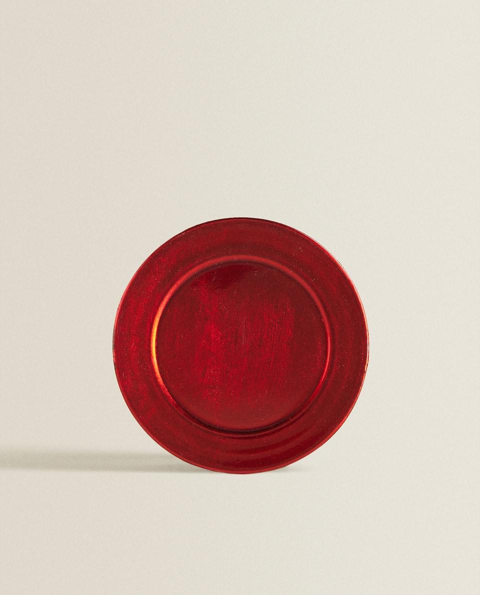 طبق جانبي معدني باللون الأحمر