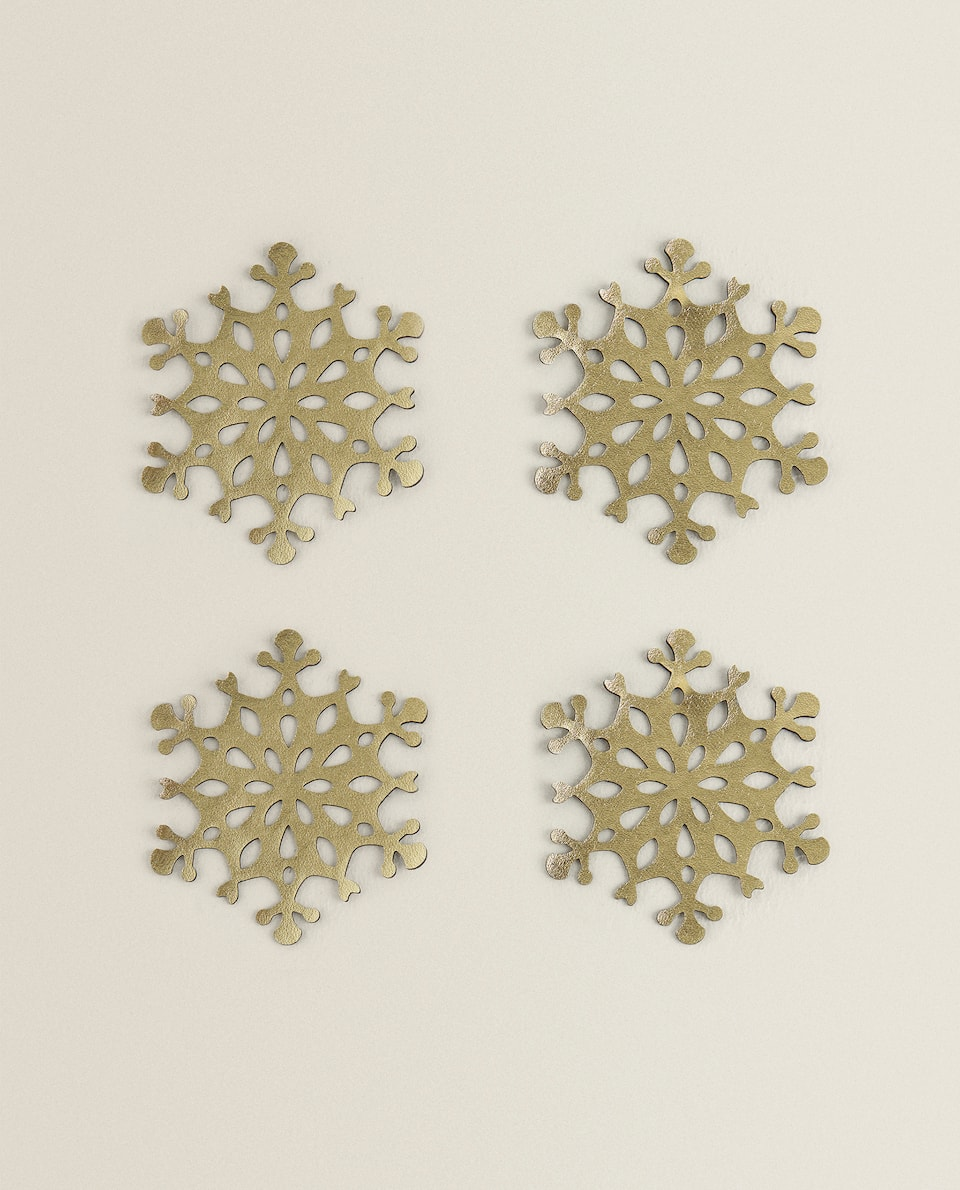 GOLD CHRISTMAS COASTER (PACK OF 4)