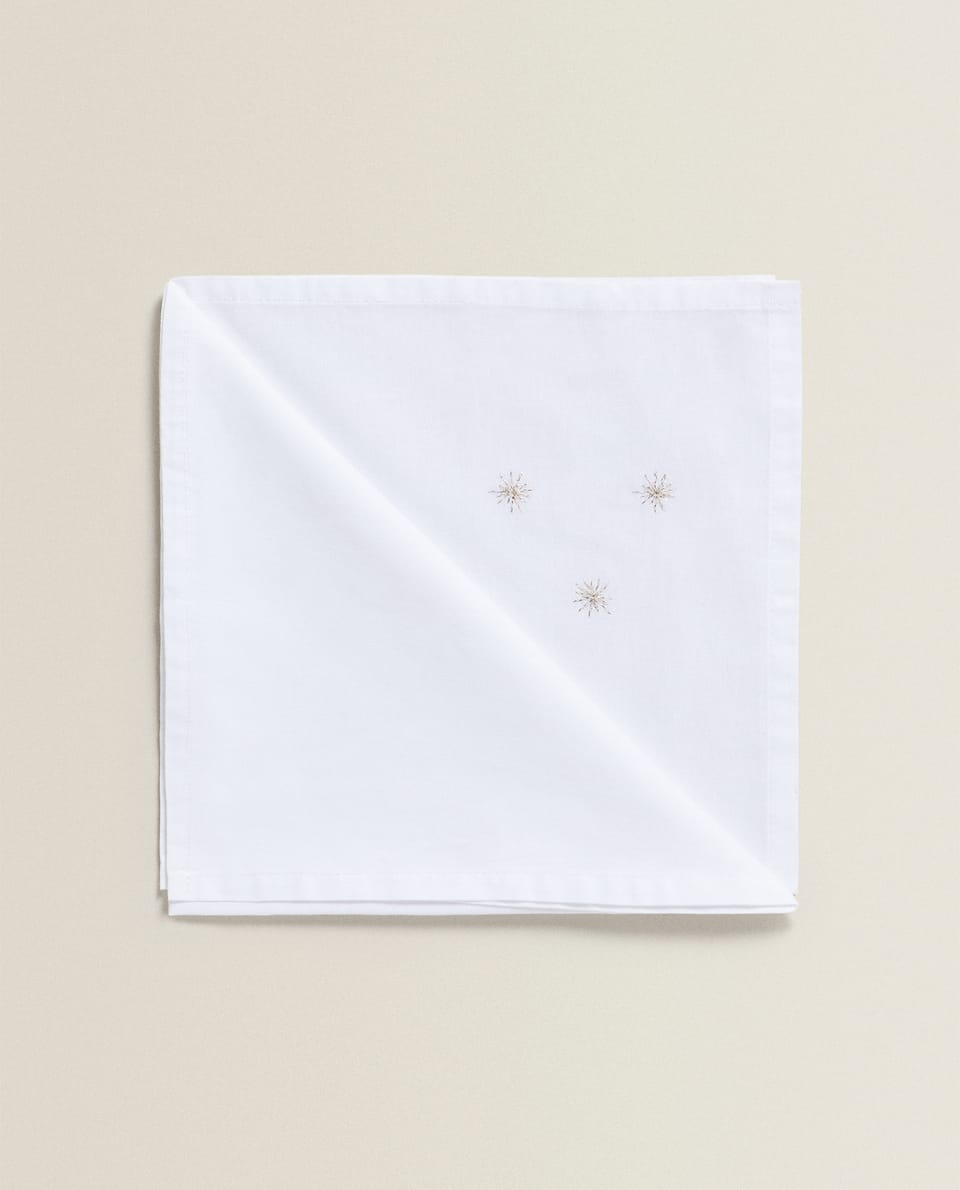 NAPKIN WITH EMBROIDERED STARS (PACK OF 2)