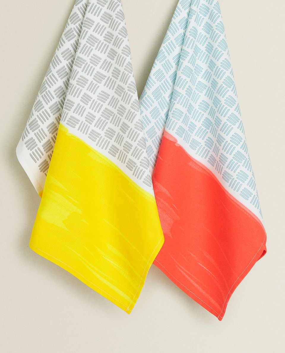 GEOMETRIC PRINT TEA TOWEL (PACK OF 2)